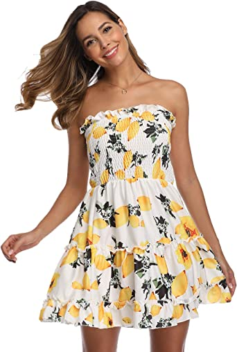 Summer Dress Strapless Floral Print