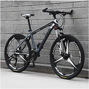 KXDLR Mens Mountain Bike, 21 Speed Bicycle with 17-Inch Frame, 26-Inch Wheels with Disc Brakes,Gray