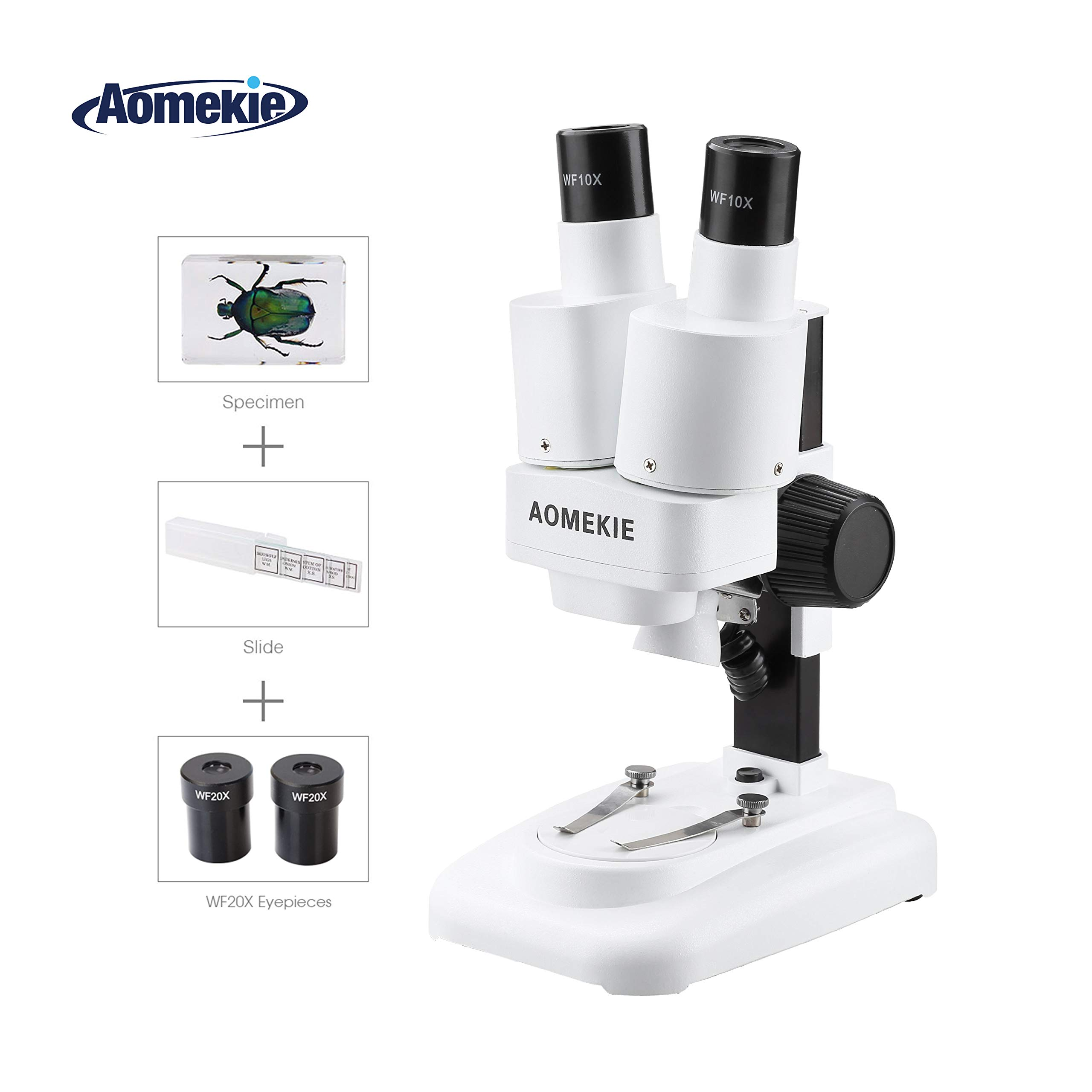 Aomekie Stereo Microscope 20-40X Microscopes for Kids Students with WF20x WF10x Eyepieces Insect Specimen 10 Slide Slides LED Light Source by AOMEKIE
