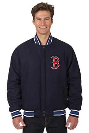 cheaper d8984 b0c48 Boston Red Sox Jacket Wool Nylon Navy Blue Reversible Embroidered Logos  (Small)