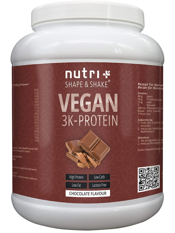 PROTEINPULVER VEGAN Schokolade 1kg | 80,2% Eiweiß | Nutri-Plus Shape & Shake 3k-Protein