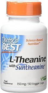 Doctor's Best Suntheanine L-Theanine, Non-GMO, Gluten Free, Vegan, Helps Reduce Stress & Sleep, 150 mg 90 Veggie Caps