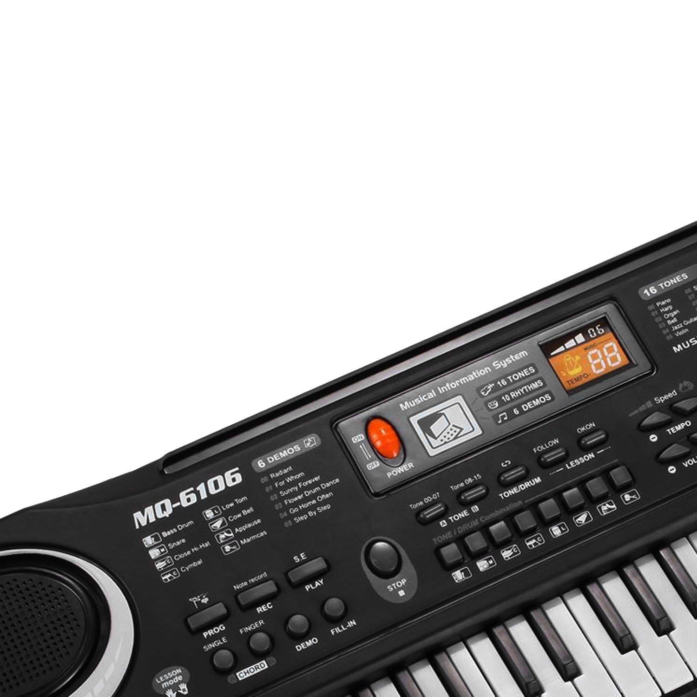 Multi-función 61 teclas niños teclado electrónico órgano piano enseñanza musical juguete con micrófono y cable de alimentación de la UE: Amazon.es: ...