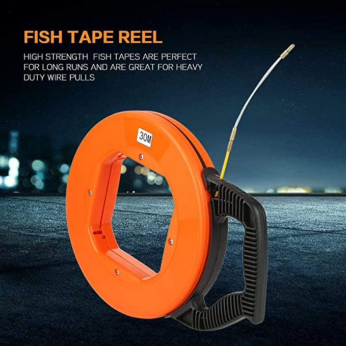 Fish Tape,4mm Fiberglass Wire Cable Running Rod Duct Rodder Fishtape Puller 30m Orange Fish Tape (US Stock) - - Amazon.com