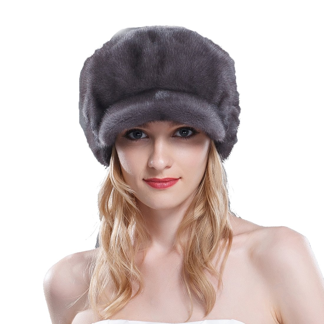 URSFUR Women's Mink Full Fur Stingy Brim Hats with Mink Top (SAGA Velvet Iron Gray)