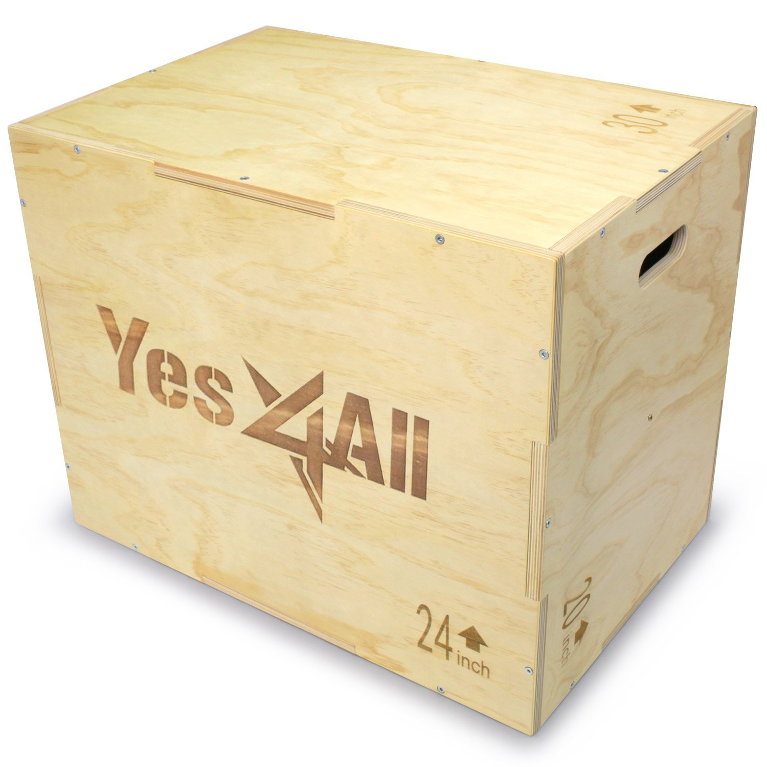 Yes4All Wood Plyo Box/Wooden Plyo Box for Exercise, Crossfit Training, MMA, Plyometric Agility - 3 in 1 Plyo Box/Plyo Jump Box (30/24/20) by Yes4All