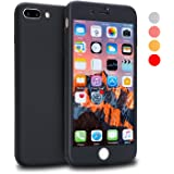 iPhone 7 Plus Case, VANSIN 360 Full Body Protection Hard Slim Case Coated Non Slip Matte Surface with Tempered Glass Screen Protector for Apple iPhone 7 Plus (5.5-inch) - Black