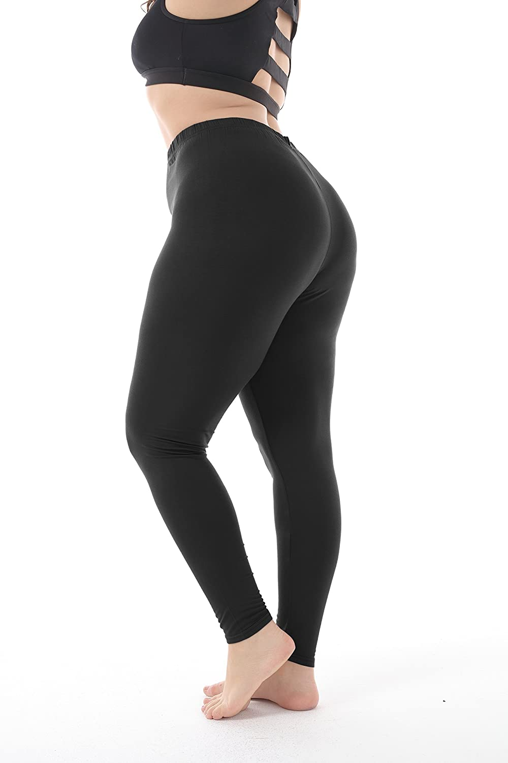 9861a7acbbe6f Zerdocean Women's Plus Size Summer Lightweight Breathable Full Length  Leggings at Amazon Women's Clothing store: