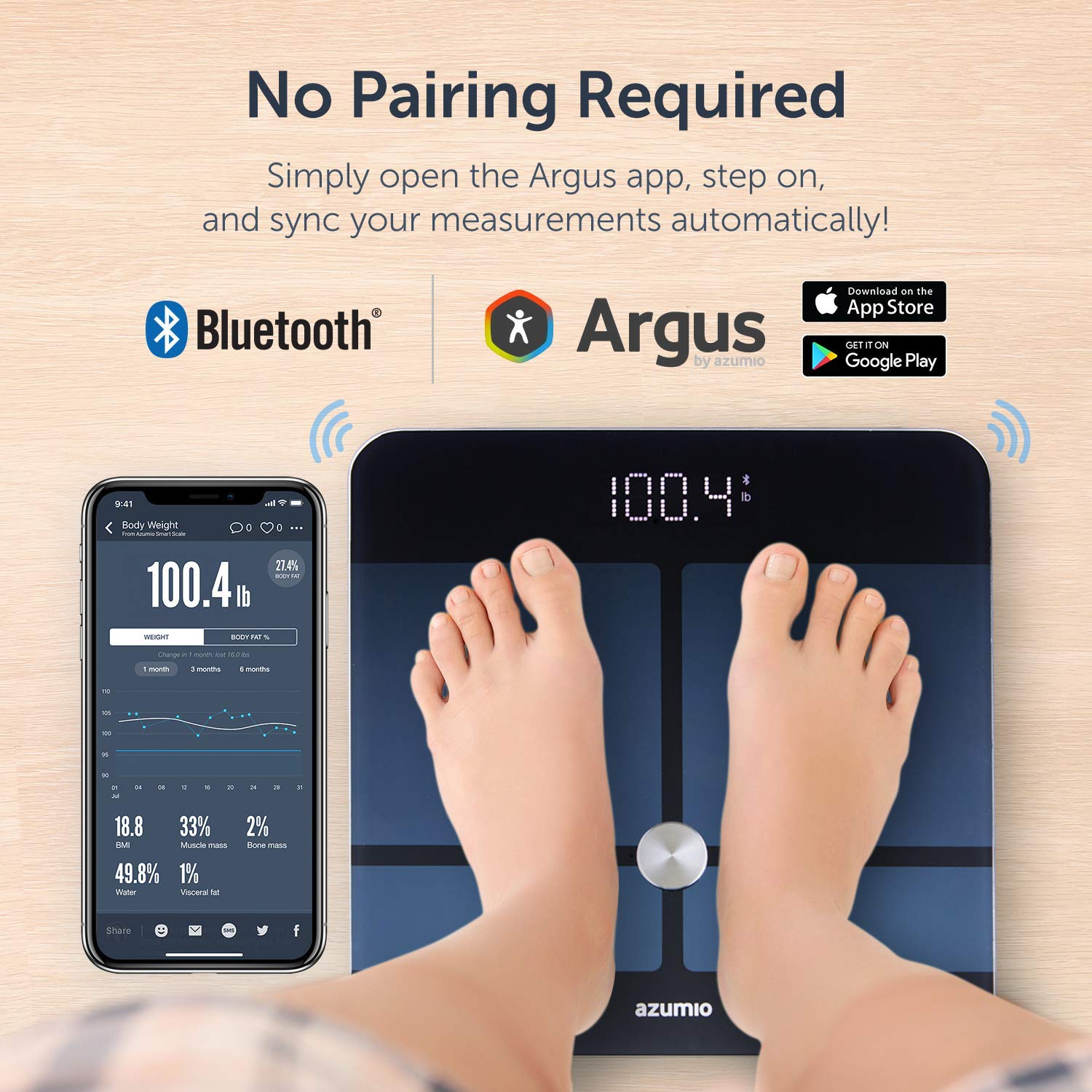 Azumio Bluetooth Digital Smart Scale for Body Weight | 6mm Tempered Glass LED Display Measures Body Fat, Visceral, BMI, BMR, Muscle Mass, Bone Mass Water Weight in KG or LB | iOS & Android Compatible by Azumio (Image #4)