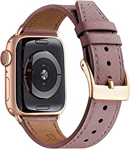 BesBand Watch Band Compatible with Apple Watch Band 38mm 40mm 42mm 44mm for Men and Women,Genuine Leather Replacement Strap for iWatch Series 5/4/3/2/1 (Lavender/Rose Gold, 38mm 40mm)