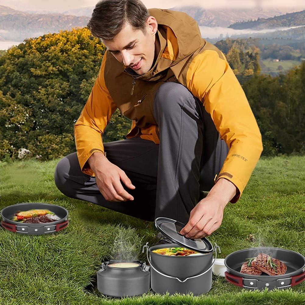 KAMELUN Utensilios De Cocina De Camping Kit Aluminio Al Aire Libre Utensilios Cocina Durante 3-4 Acero Inoxidable Portable Cocinar Al Aire Libre Conjunto Senderismo Y Trekking Picnic