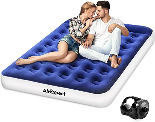 AirExpect Air Mattress Camping AirBed Queen Twin Size Leak Proof Inflatable Mattress with Rechargeable Electric Pump Built-in Pillow for Guest,Camping,Hiking, Height 9 ,Storage Bag