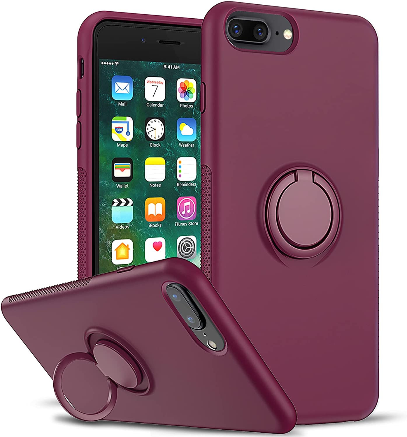 LeYi Compatible with iPhone 8 Plus Case, iPhone 7 Plus Case, iPhone 6s Plus Case, Soft Microfiber Liner Shock Absorption Gel Rubber Liquid Silicone Cover for iPhone 6 Plus, Wine Red