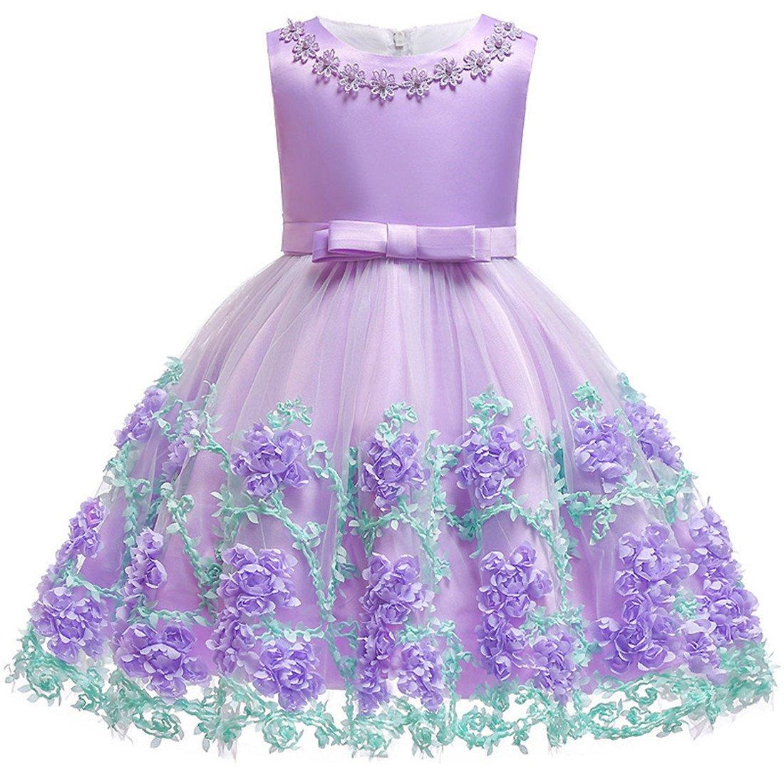 Summer Dresses 12-18 Month Easter Purple Tutu Dress for Wedding Birthday Party Toddler Kids Sleeveless Flower Dress baptism dresses for baby girls 12 Month Infant Cute Princess Dress (Lavender 12M)