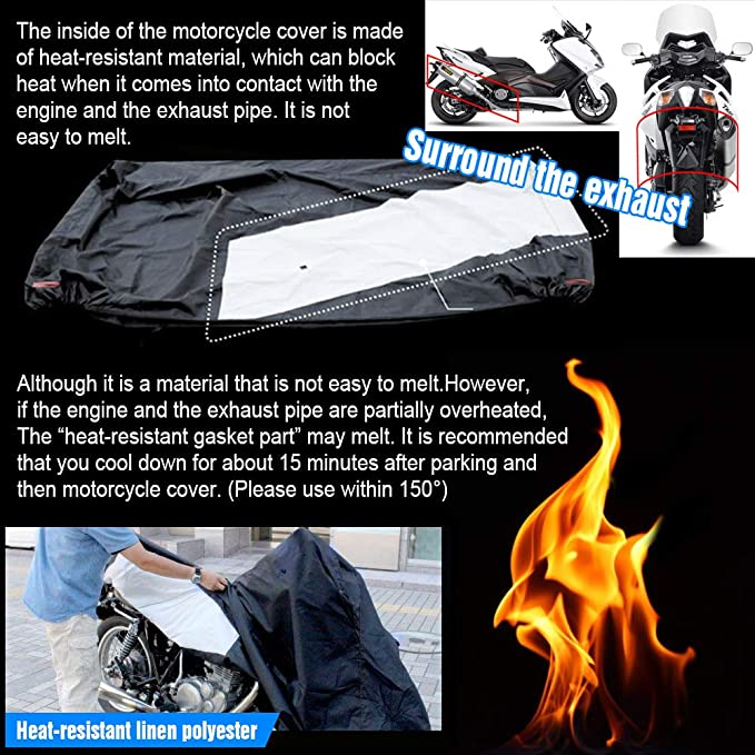 Motorradplane Abdeckplane Outdoor Motorradgarage Roller Cover 2000pa Winterfest Regen 300d Oxford Atmungsaktiv Hitzebeständig 230x100x140 Cm Schwarz Auto