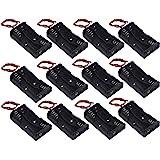 WAYLLSHINE 12 Pcs/1 Dozen 2 x 1.5V AA Battery Holder Case Box Black Wire Leads