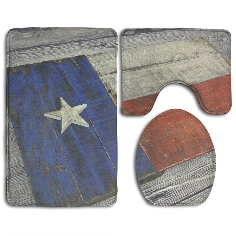 HAIDILUN Wood Texas Flag 3 Piece Bath Rug Set Non-Slip Bathroom Large Mat 19.5'' x 31