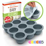 KIDDO FEEDO Food Storage Containers - Multipurpose Freezer Tray to Freeze Baby Food, Herbs, Ice Cubes, Sauces etc. - BPA Free & FDA Approved - FREE eBook by Author/Dietitian, Gray