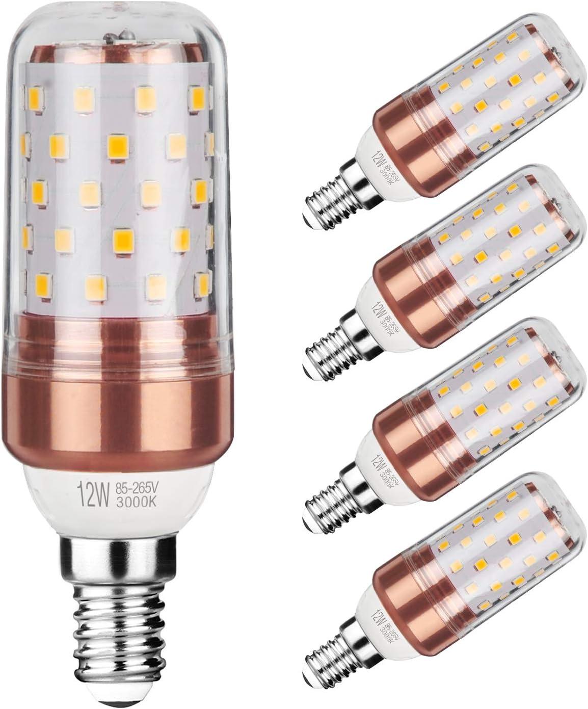 Gezee LED maíz bombilla 12W E14 3000K blanco cálido LED Candelabros bombillas, 100 W bombilla incandescente equivalente, 1200lm, LED vela bombillas No regulables(5 Packs)