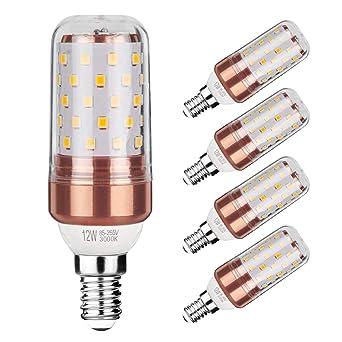 Gezee LED maíz bombilla 12W E14 3000K blanco cálido LED Candelabros bombillas, 100 W bombilla