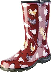 Sloggers Women's Waterproof Rain and Garden Boot with Comfort Insole, Chickens Barn Red, Size 6, Style 5016CBR06