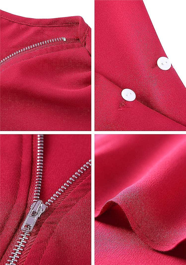 BOFETA Womens V Neck Chiffon Elegant Blouses Zipper Summer 3//4 Sleeve Blouses