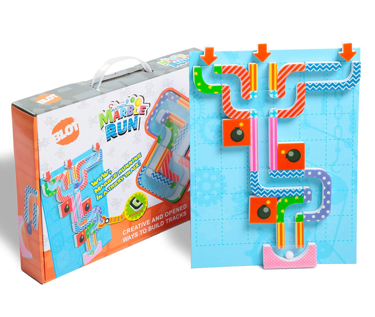 Magnetic Marble Run Set Stem Educational Toys Marble Maze Game Creativity for Boys Girls Kids 6+ Learning Critical Thinking, 34 Pieces Set