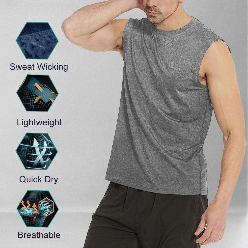 MeetHoo D/ébardeur Homme Tank Top Sleeveless Shirt sans Manches Maillot S/échage Rapide Respirant Tee de Musculation Running