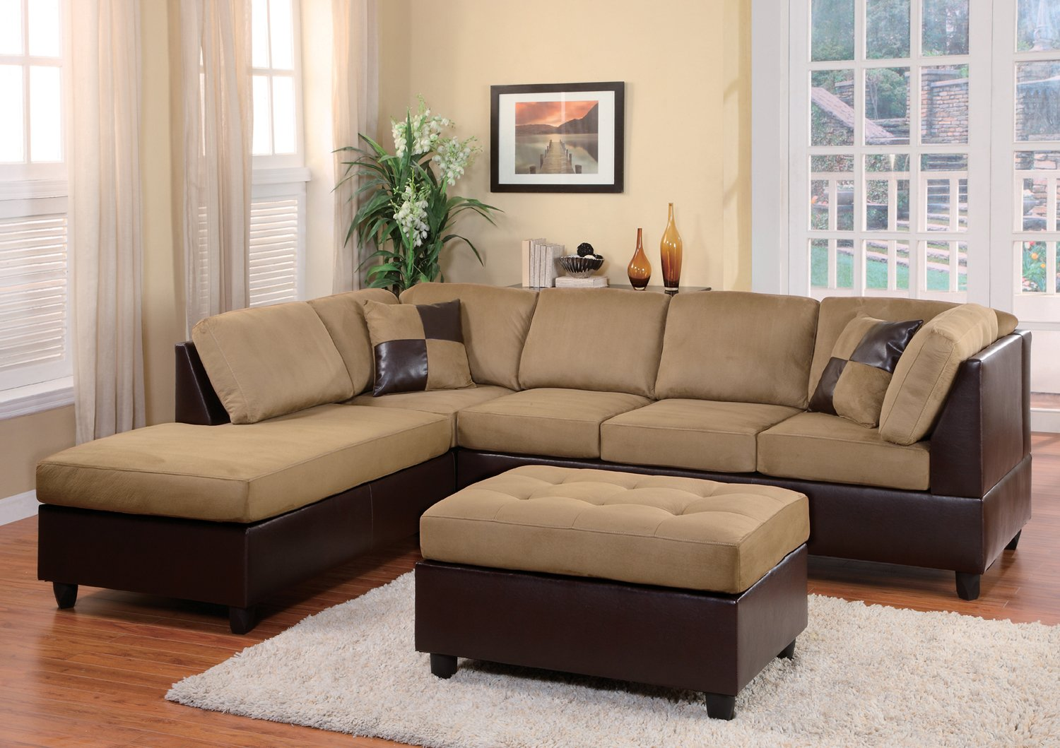 Homelegance 9909BR Comfort Living Sectional Collection with 2 Pillows, Brown Rhino Microfiber and Dark Brown Faux Leather by Homelegance