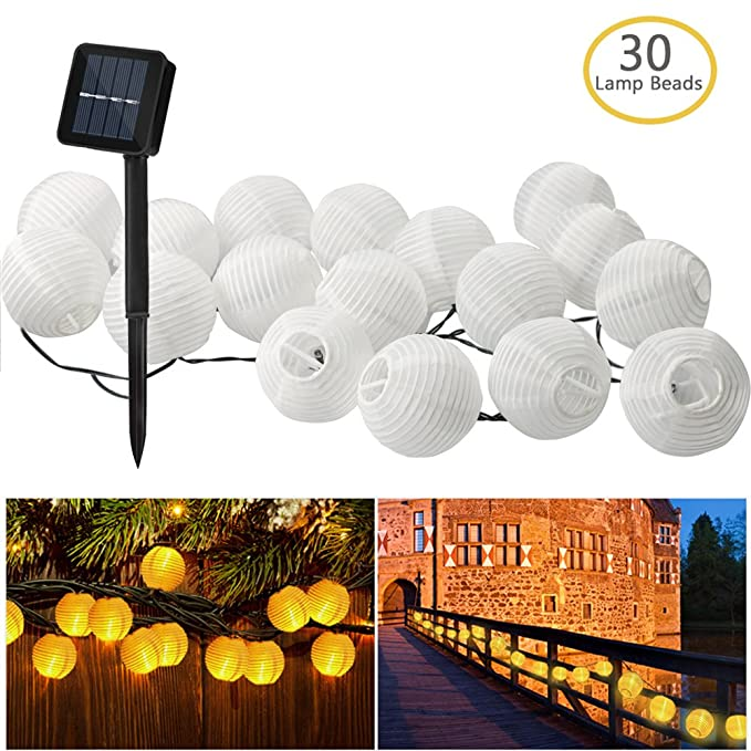 Zaeel Solar Lichterkette Lampions 30 LED Laterne Warmweiß Lichterkette, Solarbetrieben Lichterkette 6m Wasserfest Außenbeleuc