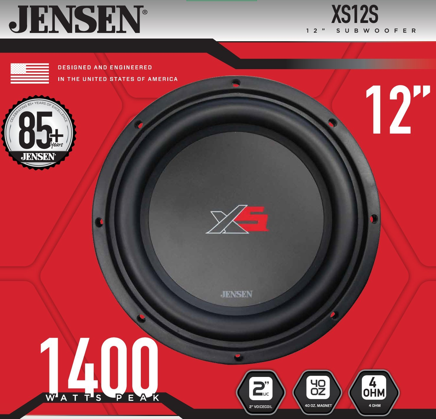 Jensen Xs10 10 Inch High Performance Subwoofer With A 2 Precision Power Wiring Diagram Single Voice Coil And 1000 Watt Peak Cell Phones Accessories