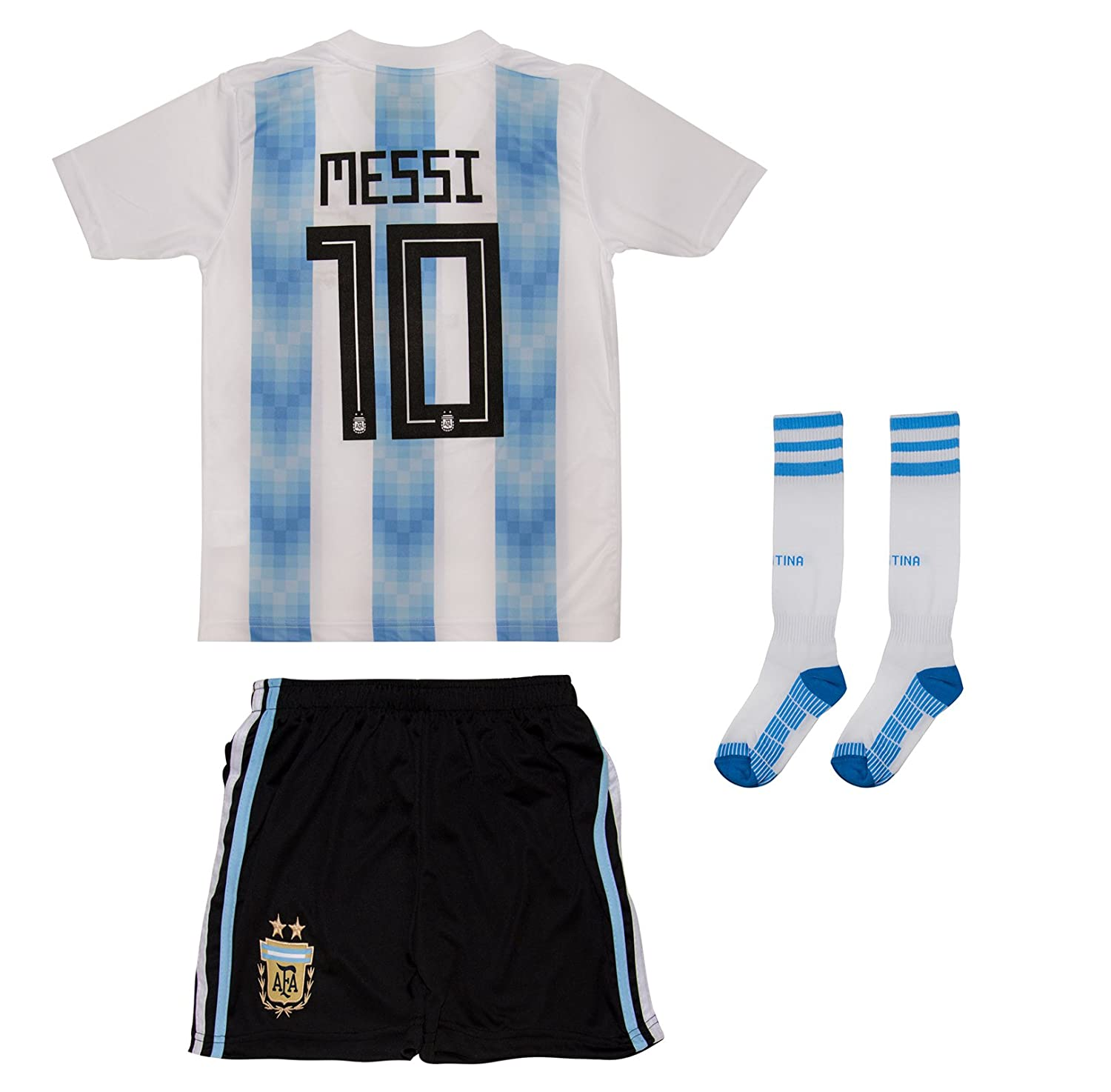 e5b793599b4 Amazon.com  Soccer Youth Jersey Set ○ Argentina ○ Home Jersey with Long  Socks ○ ○   10 Messi  Clothing
