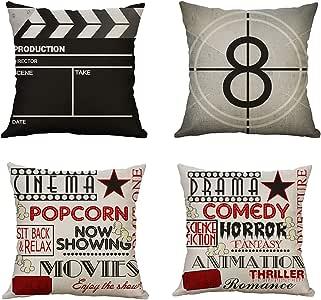 MIULEE Juego de 4 Lino Cojines Serie de Películas Funda de Cojín Almohada Caso de Decorativo Cojines para Sala de Estar sofá Cama18 x18 Pulgadas 45x45cm