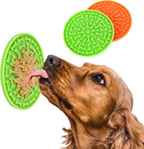 i.VALUX Licking Mat for Dog Cat Washing Distraction Device,Slow Treat Dispensing Mat,Slow Feeder Dog Bowls Puzzle Food Stop Bloat Peanut Butter Lick Pad Suction Cup for Pet Bathing,Grooming,Training