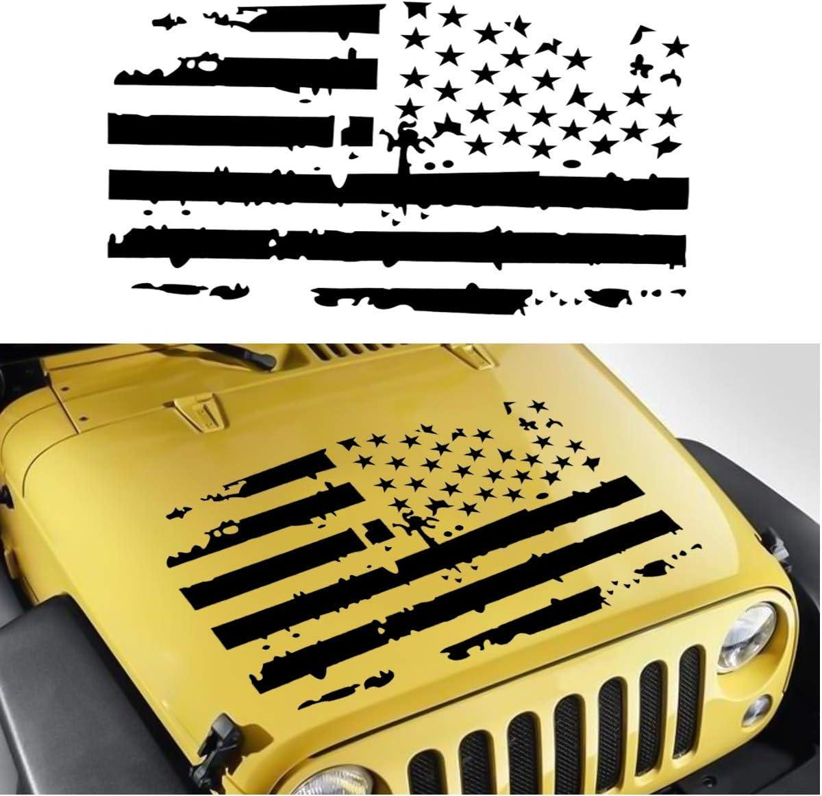 YONGYAO Adesivo Auto Americano Bandiera USA Cappuccio Adesivo Blackout per Jeep//Wrangler JK Tj Yj Black