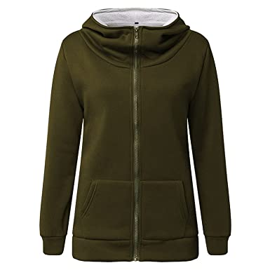 Renee Ander Simple Hooded Warm Coat Female Hoodies Fleece Pockets Jacket Outwears Sweatshirt Plus Size Army