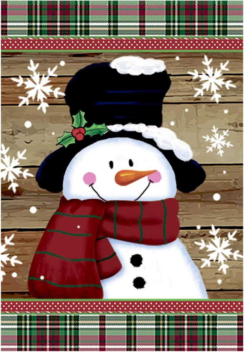 Morigins Smile Snowman with Red Scarf Outdoor Yard Flag Decorative Snowflake Winter Garden Flag 12x18 Inch
