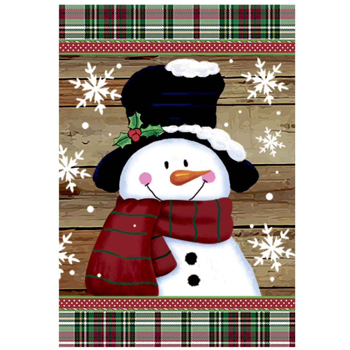 Morigins Smile Snowman with Red Scarf Outdoor Yard Flag Decorative Snowflake Winter House Flag 28x40 Inch
