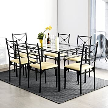 Table De Salle à Manger Et Set De 6 Chaises En Verre Clair PU Écru Métal