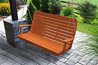 product image for Furniture Barn USA Outdoor 5 Foot Winston Porch Swing with Chain - Orange Poly Lumber - Recycled Plastic