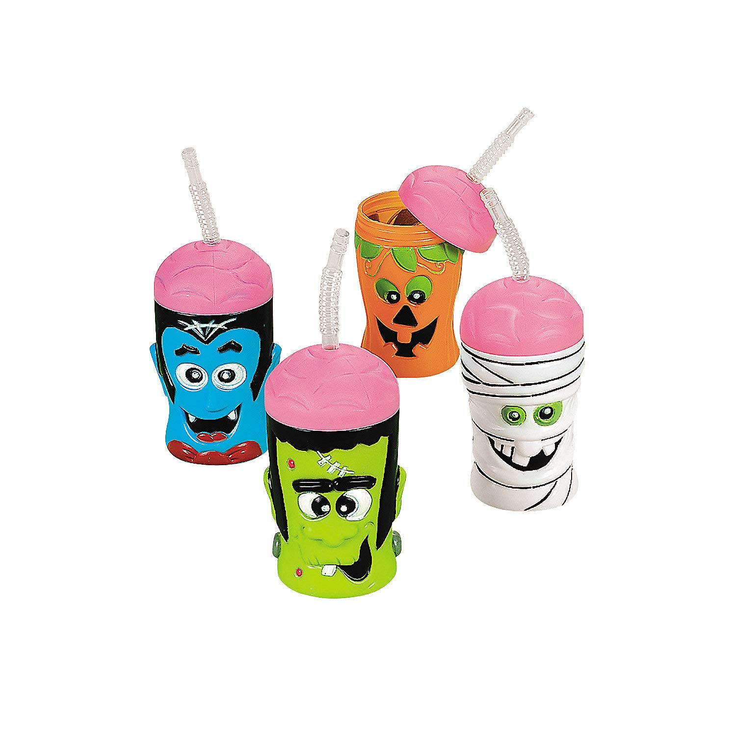Fun Express - Halloween Brain Head Sipper Cups for Halloween - Party Supplies - Drinkware - Sipper & Molded Cups - Halloween - 12 Pieces