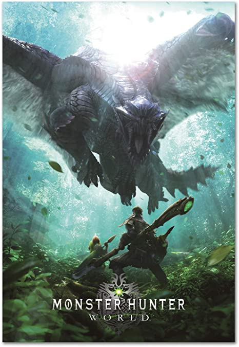Impresión Pira Monster Hunter World Póster Oficial De Juego Playstation 4 Xbox 360 Juegos De Pc Póster Home Kitchen