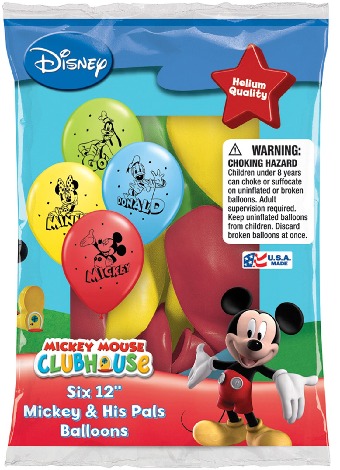 Disney Mickey and His Pals Balloons 12'' - Total 36 (6 packs of 6 each)