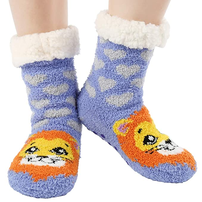 Women Winter Non-slip Floor Socks Cute Animals Super Soft Warm Fuzzy Slipper Socks 2 Pairs at Amazon Womens Clothing store: