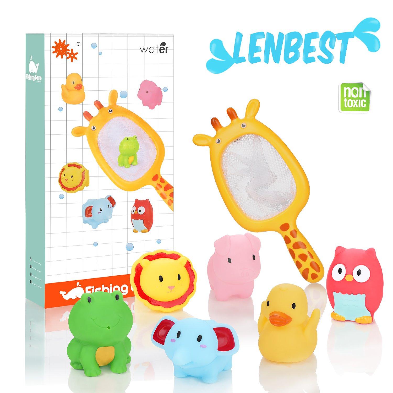 Lenbest Tierisches Thema Badespielzeug, Badewannenspielzeug Baby Wasserspaß Dusche für Kinder mit 6 Baby Badewanne Spielzeuge und 1 Aufbewahrungsnetz