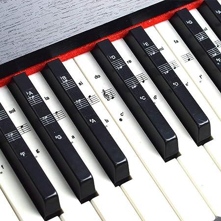 Juego completo de pegatinas para piano y teclado con notas musicales para llaves blancas y negras, notas impresas completas en Grand Staff – apto para ...