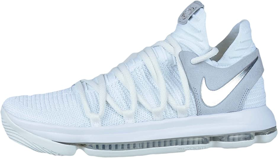 Nike Mens Kevin Durant KD 10 Chrome Scarpe da basket Bianco Cromato 897815 100 Taglia 10,5