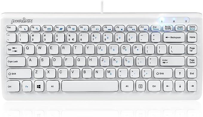 Perixx PERIBOARD-407 Mini Teclado Inglés (US QWERTY) USB - Teclas Tipo Chiclet - Color Piano Blanco