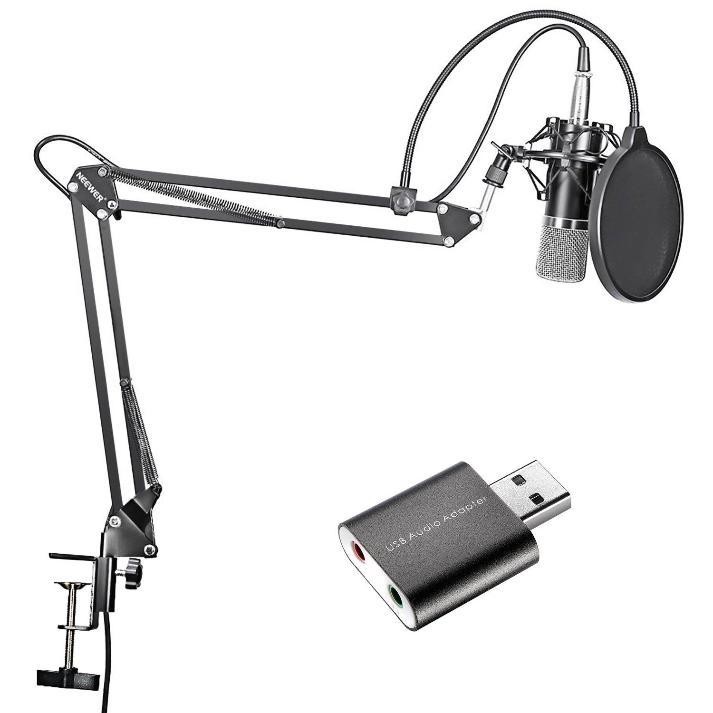 Neewer Kit di Microfono a Condensatore Nero per Telecomunicazioni Registrazioni in Studio & Stand Asta di Sospensione Braccio a Forbici, con USB 2.0 Scheda Audio Esterna Adattatore Audio per Windows & Mac 90088886
