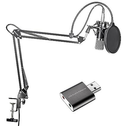 Neewer Micrófono de Condensador Negro Estudios de Grabación y Brazo de Tijera de Suspensión Ajustable Kit con Adaptador USB 2.0 Tarjeta de Sonido ...